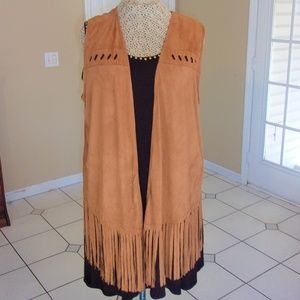 Tunic-Length Micro-Suede Laser-Cut & Fringed Vest